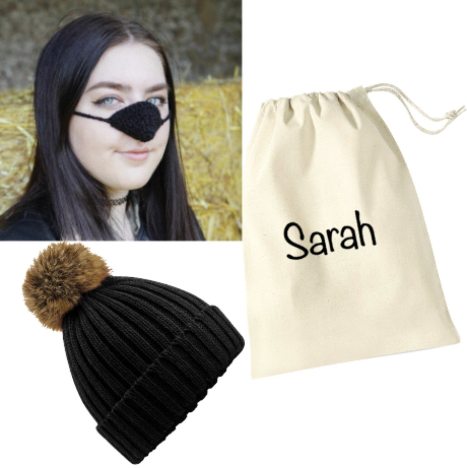 Personalised Black Keep Warm Kit: Black Fleece Nose Warmer, Pompom Hat & Personalised Gift Bag