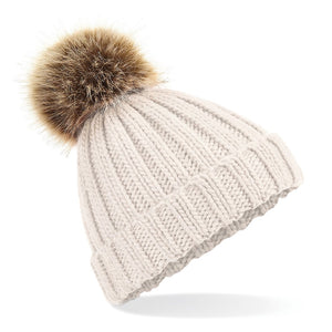 Oatmeal Faux Fur Pompom Hat