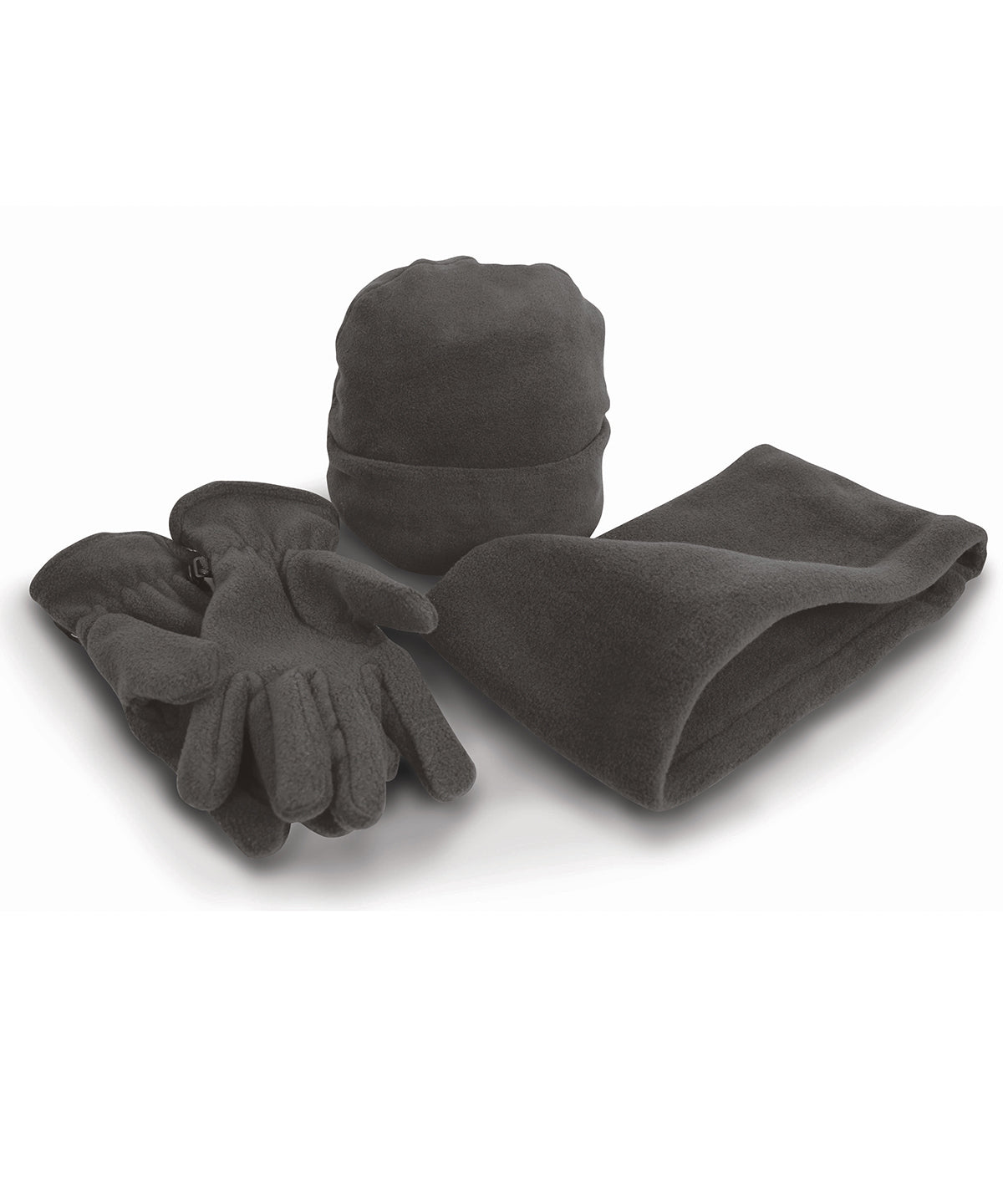 Polartherm™ Fleece Accessory Set: Charcoal Hat, Gloves & Snood