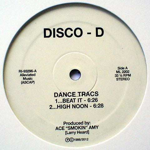 "Disco - D* ‎– Dance Tracs : Alleviated Records ‎– ML 2202, Alleviated Records ‎– RI-93296 : Vinyl, 12"", 33 ⅓ RPM, Reissue, Remastered"