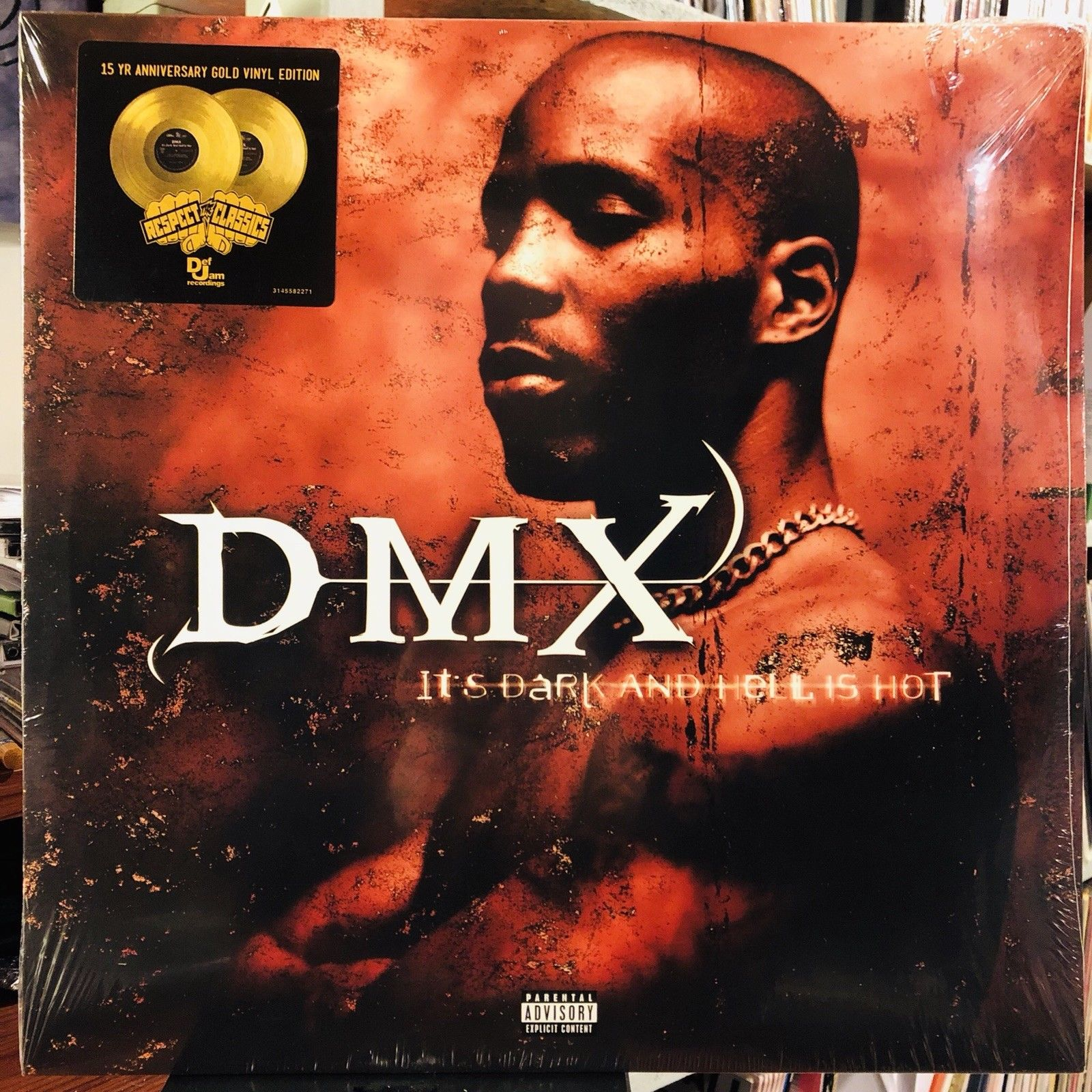 DMX ‎– It's Dark And Hell Is Hot : Ruff Ryders ‎– 314 558 227-1, Ruff Ryders ‎– 3145582271, Def Jam Recordings ‎– 3145582271, UMe ‎– 3145582271 Series: Respect The Classics – : 2 × Vinyl, LP, Album, Reissue, Gold