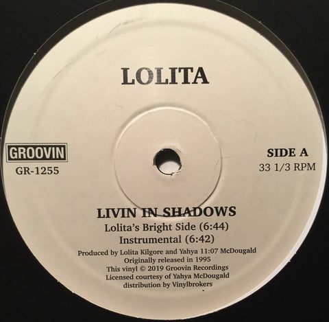 "Lolita ‎– Livin In Shadows : Groovin Recordings ‎– GR-1255 : Vinyl, 12"", 33 ⅓ RPM, Reissue"