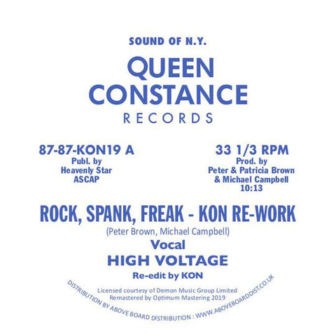 "High Voltage* / Chain Reaction ‎– Rock, Spank, Freak / Dance Freak : Queen Constance Records ‎– 87-87-KON19 : Vinyl, 12"", 45 RPM"