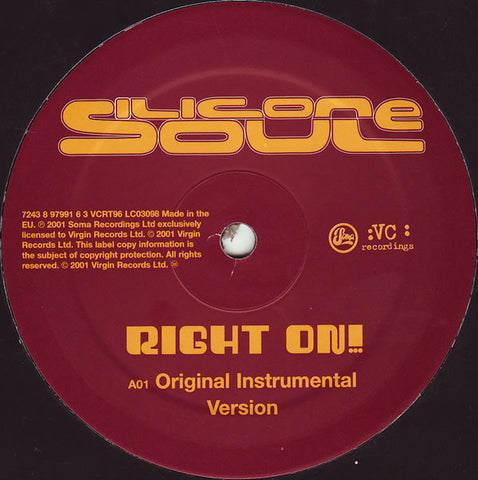Silicone Soul ‎– Right On! : VC Recordings ‎– VCRT 96 : Vinyl, 12""