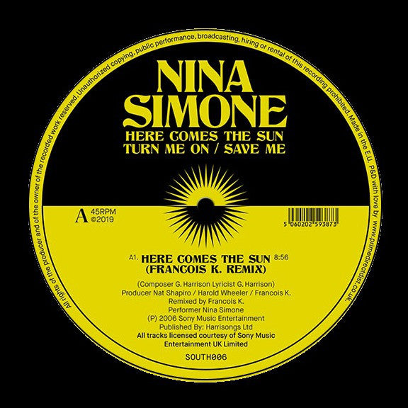 "Nina Simone ‎– Remixes : South Street ‎– SOUTH006 : Vinyl, 12"", 33 ⅓ RPM, 45 RPM"