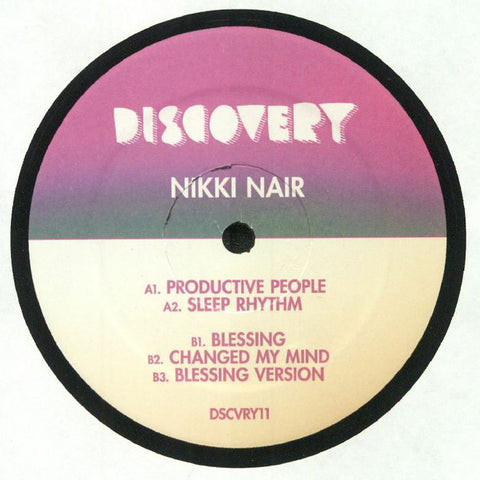"Nikki Nair ‎– Productive People : Discovery Recordings ‎– DSCVRY11 : Vinyl, 12"", 33 ⅓ RPM, EP"