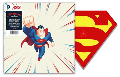 "Shirley Walker ‎– Superman The Animated Series : Mondo (3) ‎– MOND-048 : Vinyl, 12"", Shape, Single Sided, Limited Edition, Die-Cut, Red/Yellow"