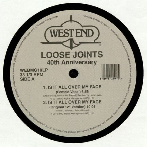 "Loose Joints ‎– Is It All Over My Face (40th Anniversary) : West End Records ‎– WEBMG10LP : 2 × Vinyl, 12"", 33 ⅓ RPM Vinyl, 7"", 33 ⅓ RPM"