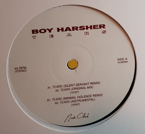 "Boy Harsher ‎– Tears : Nude Club Records ‎– NUDE009 : Vinyl, 12"", EP"