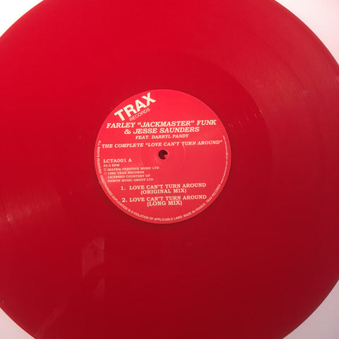 "Farley ""Jackmaster"" Funk & Jesse Saunders Feat. Darryl Pandy ‎– The Complete Love Can't Turn Around : Trax Records ‎– LCTA001 : Vinyl, 12"", 33 ⅓ RPM, Reissue, Remastered, Repress, Red"