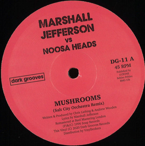"Marshall Jefferson vs. Noosa Heads ‎– Mushrooms : Dark Grooves Records ‎– DG-11 : Vinyl, 12"", Reissue"