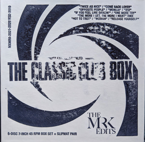 "Mr. K ‎– The Classic Club Box - The Mr K Edits : Most Excellent Unlimited ‎– MXMRK-2021-2025 RSD 2019 : 5 × Vinyl, 7"", 45 RPM, Compilation, Limited Edition, Promo, Stereo, Box Set"