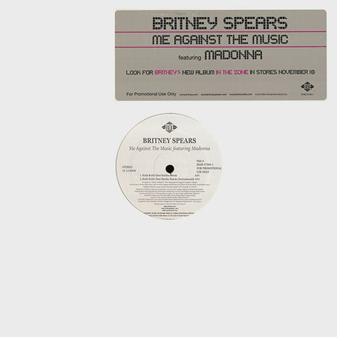 "Britney Spears Featuring Madonna ‎– Me Against The Music : Jive ‎– JDAB-57305-1 : Vinyl, 12"", Promo, 33 ⅓ RPM"