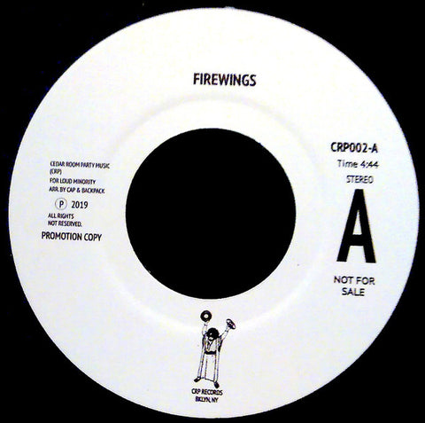 "Cedar Room Party ‎– Firewings / Coffee Boogie : CRP Records (2) ‎– CRP002 : Vinyl, 7"", 45 RPM, Promo, Stereo"