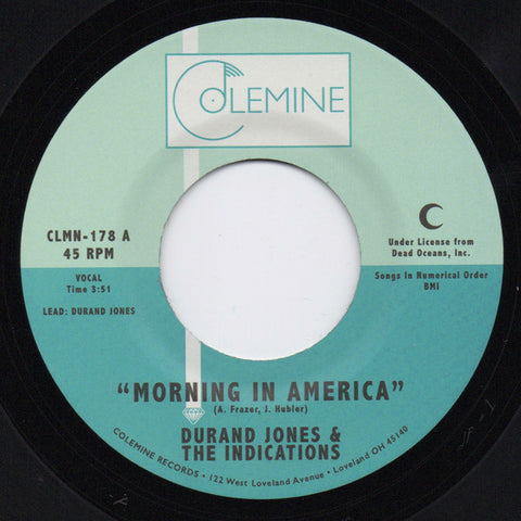 "Durand Jones & The Indications ‎– Morning In America / Cruisin' To The Park : Colemine Records ‎– CLMN-178 : Vinyl, 7"", 45 RPM, Single, Limited Edition, Black"