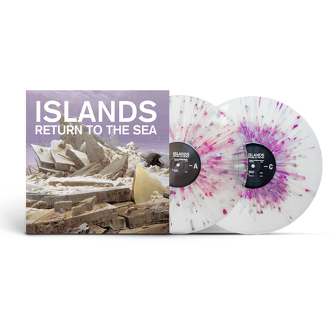 "Islands ‎– Return To The Sea : Manqué Music ‎– MQ-007 : 2 × Vinyl, 12"", 45 RPM, Album, Club Edition, Numbered, Reissue, Remastered, Clear w/ Blue,Grey and Purple Splatter"