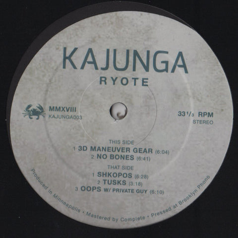 "Ryote ‎– Ryote EP : Kajunga Records ‎– KAJUNGA003 : Vinyl, 12"", 33 ⅓ RPM, EP"