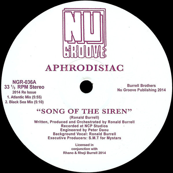 "Aphrodisiac ‎– Song Of The Siren : Nu Groove Records ‎– NGR-036 : Vinyl, 12"", 45 RPM, Reissue, Remastered"