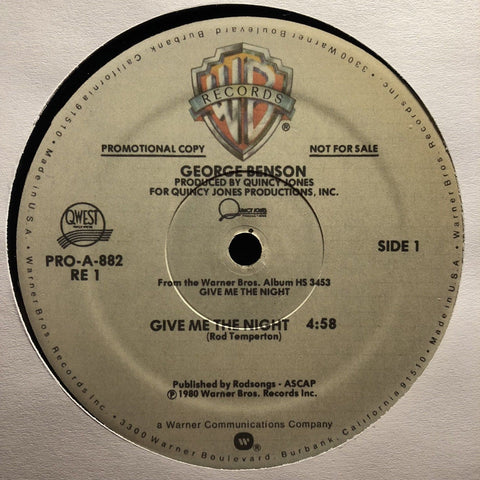 "George Benson / Rufus & Chaka Khan ‎– Give Me The Night / Ain't Nobody : Warner Bros. Records (2) ‎– PRO-A-882 RE 1, Qwest Records (2) ‎– PRO-A-882 RE 1, Warner Bros. Records (2) ‎– PRO-AA-882 : Vinyl, 12"", 33 ⅓ RPM, Promo, Unofficial Release"