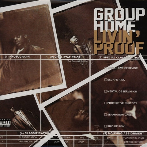 Group Home ‎– Livin' Proof : Group Home Music Inc ‎– GROUPHOMELP001, Payday (2) ‎– none, FFRR (2) ‎– none : 3 × Vinyl, LP, Album, Unofficial Release, Clear
