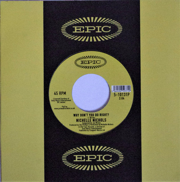 "Nichelle Nichols ‎– Know What I Mean / Why Don't You Do Right? : Epic ‎– 5-10131P : Vinyl, 7"", 45 RPM, Single, Reissue"