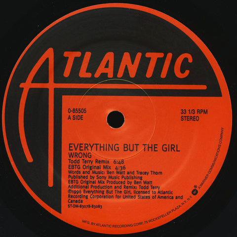 "Everything But The Girl ‎– Wrong : Atlantic ‎– 0-85505 : Vinyl, 12"", 33 ⅓ RPM"