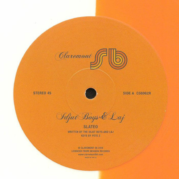 "Idjut Boys & Laj ‎– Slateo : Claremont 56 ‎– C56062R : Vinyl, 12"", 45 RPM, Single Sided, Limited Edition, Orange & White"