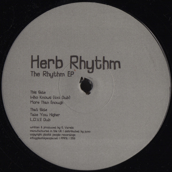"Herb Rhythm ‎– The Rhythm EP : Plastik People Recordings ‎– PPR16 : Vinyl, 12"", 33 ⅓ RPM, EP"