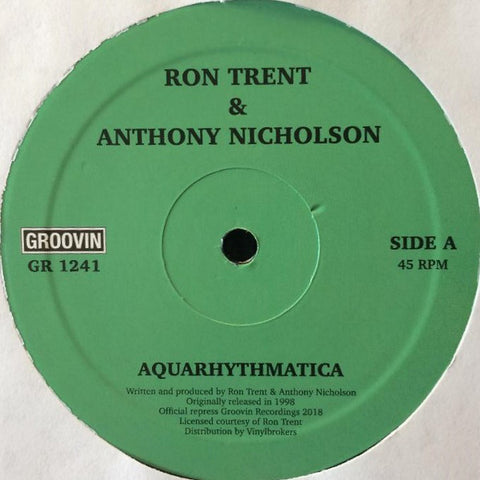 "Ron Trent & Anthony Nicholson ‎– Aquarythmatica / City Beat : Groovin Recordings ‎– GR1241 : Vinyl, 12"", 45 RPM"