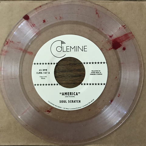 "Soul Scratch ‎– America : Colemine Records ‎– CLMN-167 : Vinyl, 7"", 45 RPM, Single, Limited Edition, Stereo, Red Swirl"