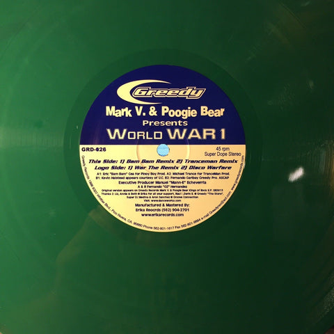 "Mark V. & Poogie Bear ‎– World WAR 1 : Greedy Records ‎– GRD-026 : Colored Vinyl, 12"", 45 RPM"