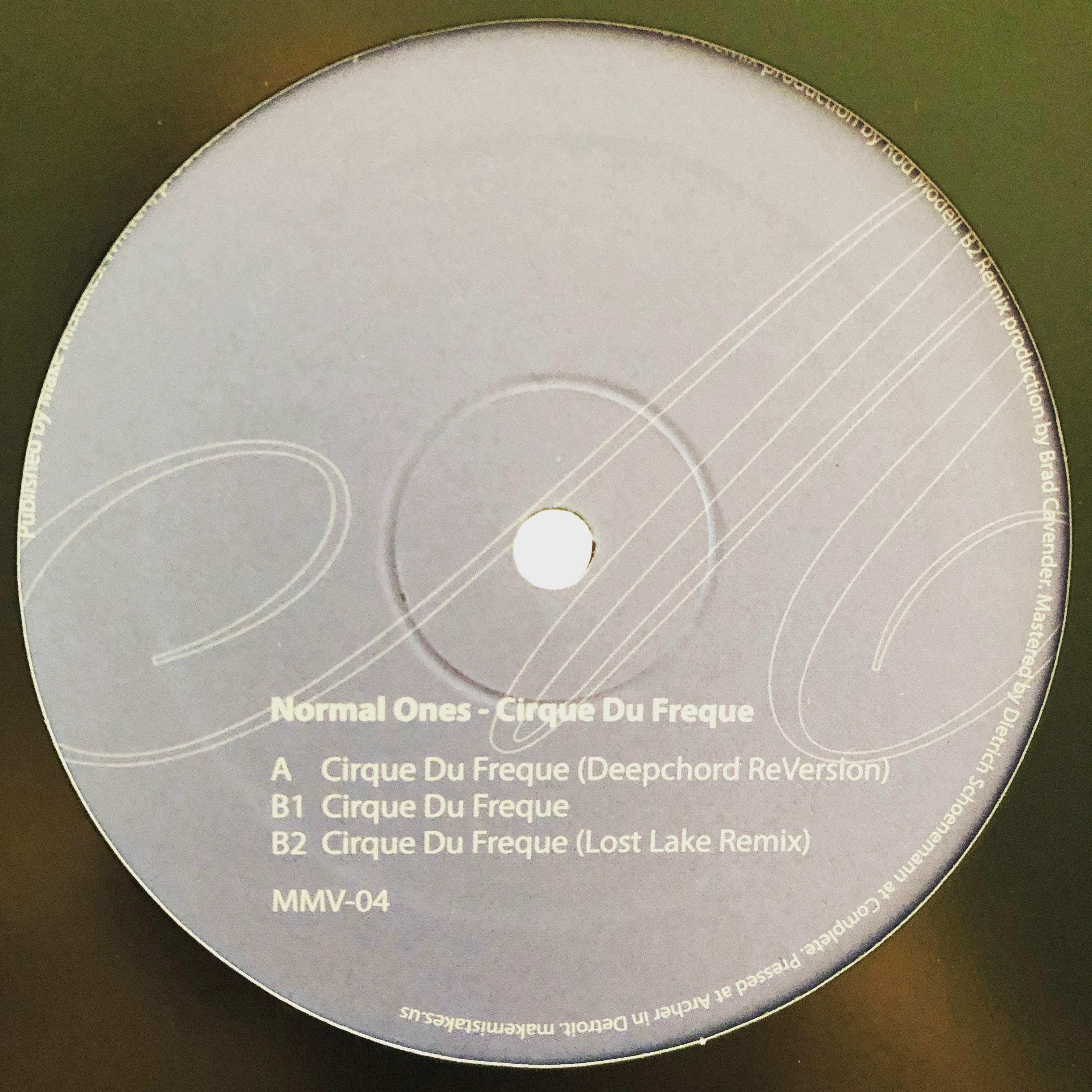 "Normal Ones ‎– Cirque Du Freque : Make Mistakes ‎– MMV04 : Vinyl, 12"", 33 ⅓ RPM, Single"