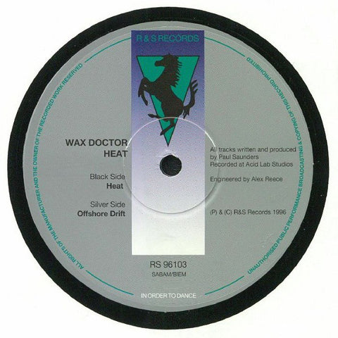 "Wax Doctor ‎– Heat  : R & S Records ‎– RS 96103 : Vinyl, 12"", 45 RPM, Reissue"