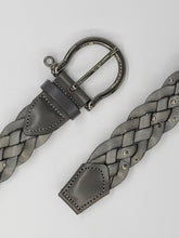 Load image into Gallery viewer, WOMEN'S WOVEN STUDDED GREY LEATHER