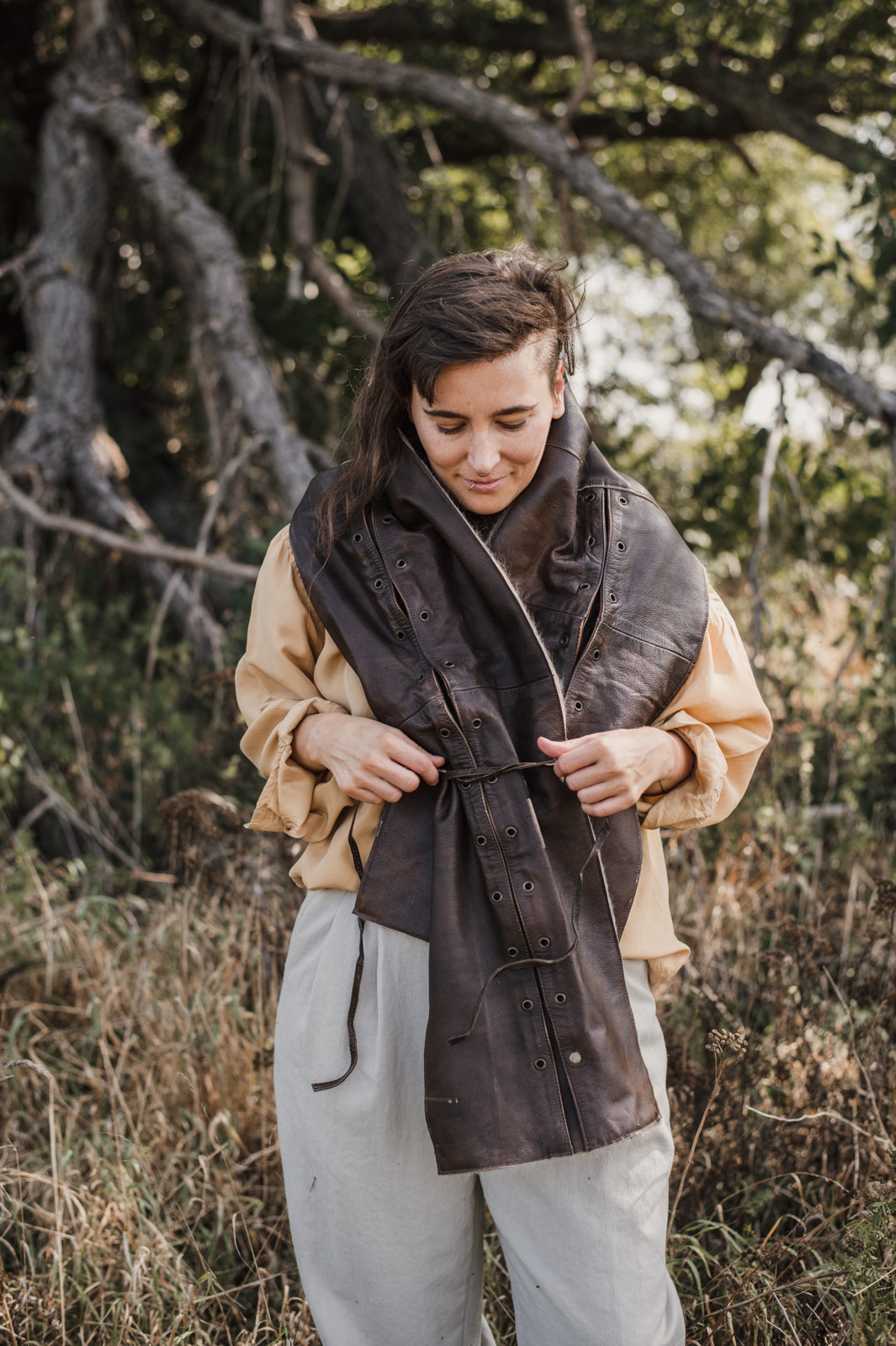 Brown eyelet scarf