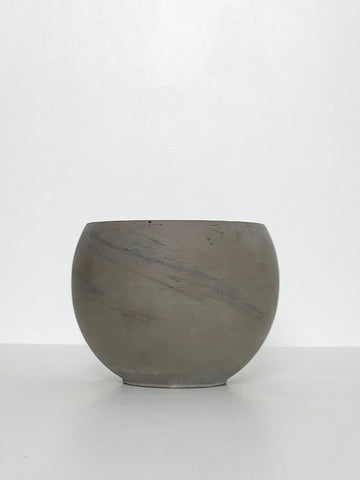 Medium Round Marbled Charcoal Terracotta Planter