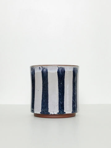Glazed Striped Ceramic Planter