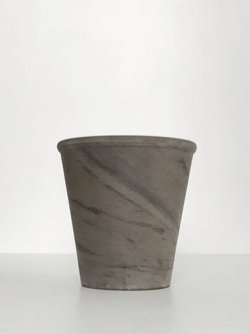 Medium Marbled Charcoal Grey Terracotta Planter w/ Lip