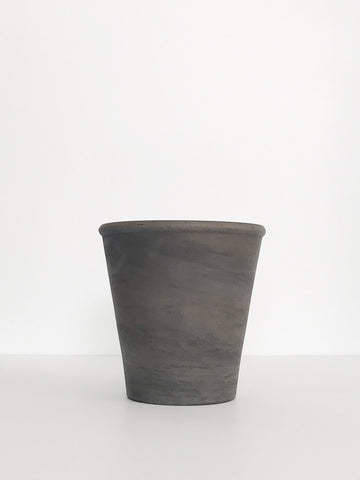 Small Marbled Charcoal Grey Terracotta Planter w/ Lip