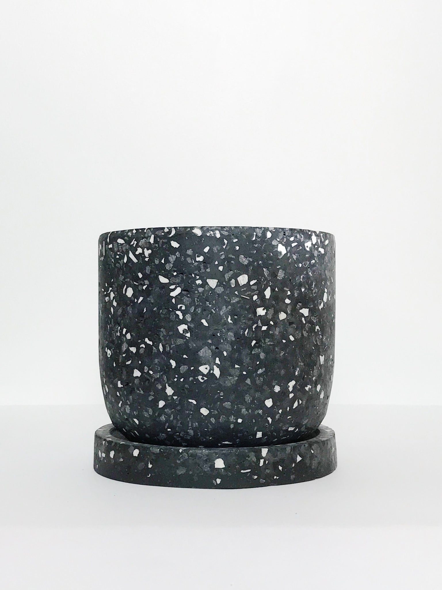 Speckled Charcoal Cement Planter w/ Drain Dish