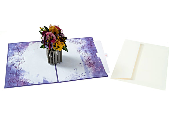 Mother's Day Pop Up Card Pansies Flowers