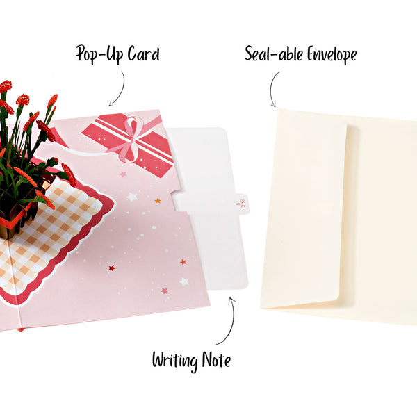 Red Carnation Flower Pop Up Card Anthea Cards