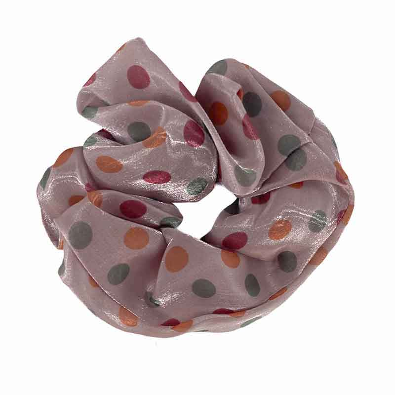 BLACK COLOUR BRENDA FLOWER & DOT SCRUNCHIES LYSERØD