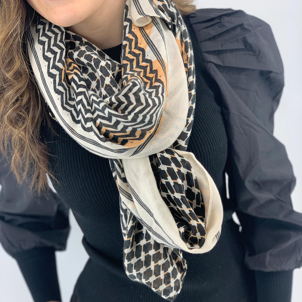BLACK COLOUR JADA PARTISAN SCARF BEIGE