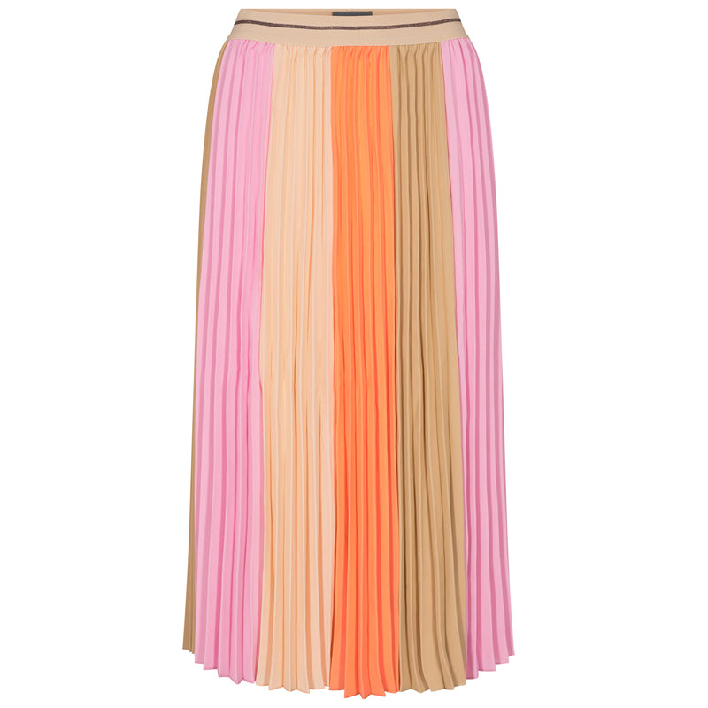 MOS MOSH PLISSE BLOCK SKIRT ORANGE