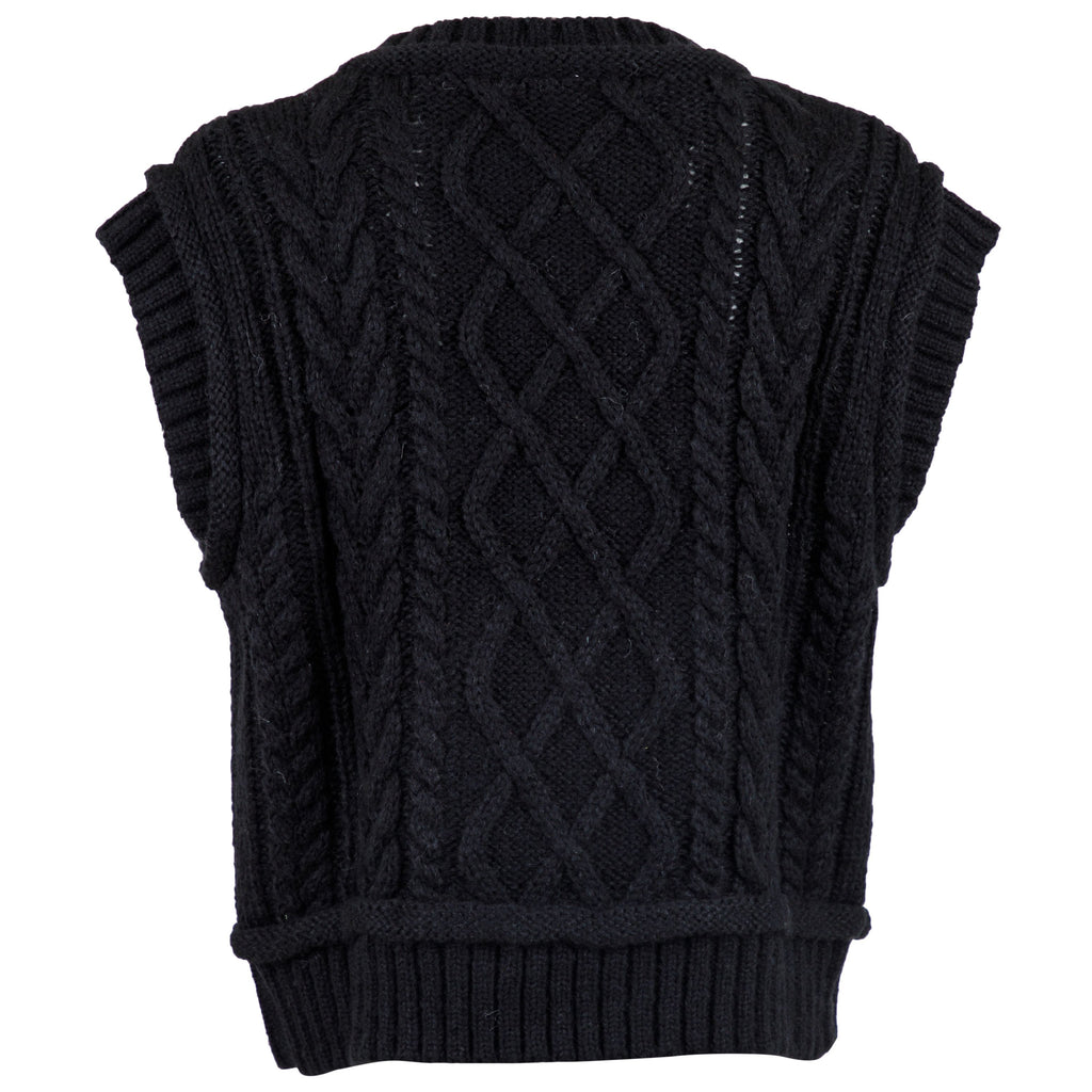 NEO NOIR MALLEY CABLE KNIT WAISTCOAT SORT
