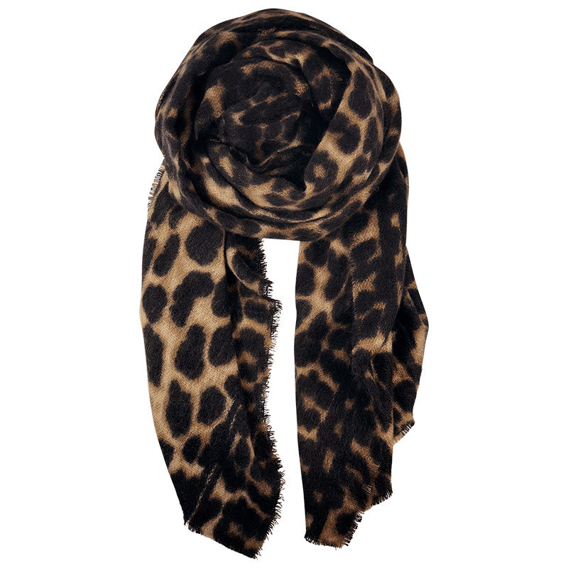 BLACK COLOUR FLAVIA LEO SCARF BRUN