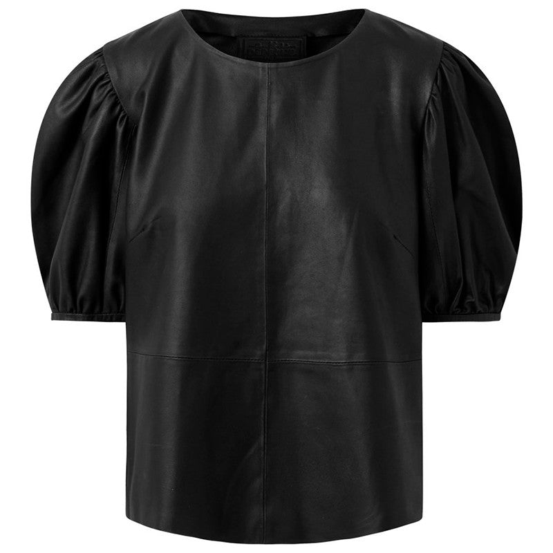 DEPECHE 50232 LEATHER BLOUSE SORT