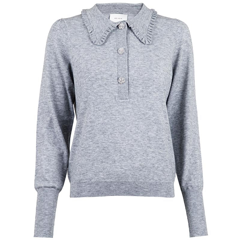 NEO NOIR GEMME DIAMOND KNIT BLOUSE GRÅ