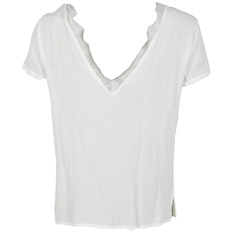 OBJECT OBJLOURDES S/S LACE TOP OFF WHITE